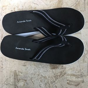 Casual Thong Sandals Wedge Heel Black White
